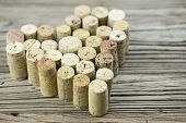 Wine Corks Form A Heart Shape On The Wood Board Background Valentine's Day Composition
