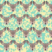 Abstract Geometric Polygonal Deer Seamless Pattern