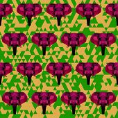 Abstract Geometric Polygonal Elephant Seamless Pattern Background
