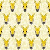 Yellow Colored Abstract Polygonal Kangaroo Pattern Background