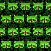 Abstract Geometric Polygonal Raccoon Seamless Pattern