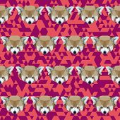 Abstract Geometric Polygonal Red Panda Seamless Pattern