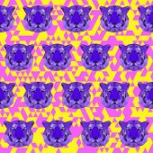 Bright colored Abstract Geometric Polygonal Tiger Seamless Pattern