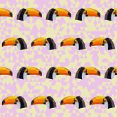 Abstract Geometric Polygonal Toucan Seamless Pattern