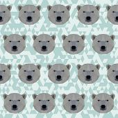 Abstract Geometric Polygonal White Bear Seamless Pattern Background