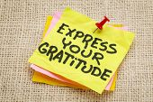 express your gratitude - advice on a sticky note against burlap canvas