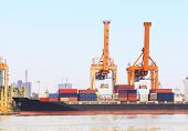 industry container ship on port for import export goods trading and shipping business