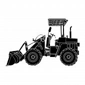 Silhouette Of Wheeled Tractor Vector.