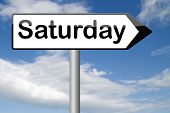 saturday sign event calendar or meeting schedule
