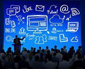 Business People Seminar Global Communications Social Media Concept