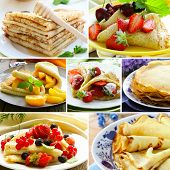 collage of traditional thin pancakes with different berries