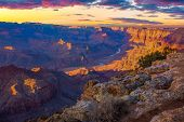 picture of grand canyon  - Beautiful Landscape of Grand Canyon from Desert View Point with the Colorado River visible during dusk