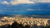 pic of portland oregon  - View of Portland Oregon from Pittock Mansion during the Golden Hour  - JPG