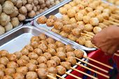 picture of meatball  - grilled meatballs in the market for snack - JPG