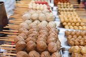 stock photo of meatball  - grilled meatballs in the market for snack - JPG