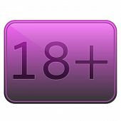 pic of adults only  - Vector pink rectangular button with glare - JPG