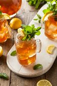 picture of iced-tea  - Homemade Iced Tea and Lemonade with Mint - JPG