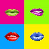 Постер, плакат: Pop art lips Lips background