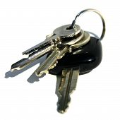 picture of car keys  - details of key ring with various door and car keys against a white background - JPG