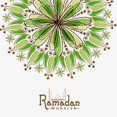 image of ramadan mubarak card  - Floral design decorated greeting card for Islamic holy month of prayer - JPG