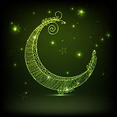 image of eid festival celebration  - Floral decorated green crescent moon on shiny stars decorated background for muslim community festival - JPG