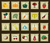 pic of pawpaw  - Vegetables and Fruits icon set vintage style - JPG