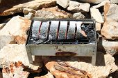 image of brazier  - fresh red fish fried on a brazier with hot coals - JPG