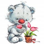 stock photo of teddy  - Toy Teddy bear and flowers - JPG