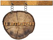 stock photo of lumber  - Empty wooden sign a section of tree trunk with text lumber hanging with a metal chain on a wooden pole isolated on a white background - JPG