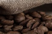 foto of brew  - roasted coffee beans on wooden table ready to brew delicious coffee  - JPG