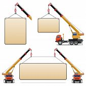 image of boom-truck  - Construction Machines Set 6 including crane with blank board isolated on white background - JPG