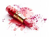 pic of pink eyes  - Pink nail polish crushed eye shadow and lipstick isolated on white background - JPG
