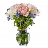 picture of forget me not  - Bouquet of flowers in a vase tulips and forget - JPG