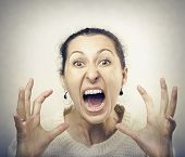picture of lunate  - Furious woman screaming - JPG