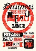 stock photo of lunch  - Restaurant menu typographic grunge design - JPG