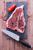 picture of t-bone steak  - Close up Raw T - JPG