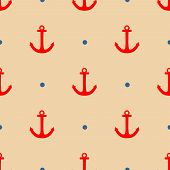 picture of navy anchor  - Tile sailor vector pattern with red anchor and navy blue polka dots on pastel background for seamless decoration wallpaper - JPG