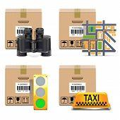 stock photo of binoculars  - Shipment Icons Set 10 including carton box - JPG