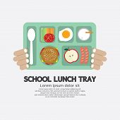 pic of school lunch  - Hand Holding A School Lunch Tray Vector Illustration - JPG