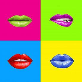 stock photo of lip  - Pop art lips - JPG