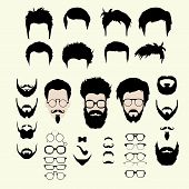 Vector set of hipster style haircut, glasses, beard, mustache poster