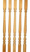 Five wooden balusters