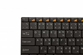 stock photo of qwerty  - THAI and ENGLISH QWERTY Keyboard on white background - JPG