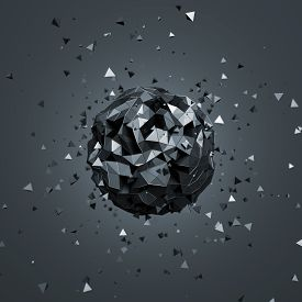 picture of pyramid shape  - Abstract 3d rendering of low poly sphere with particles - JPG