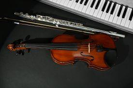picture of wind instrument  - Musical instruments on dark background - JPG