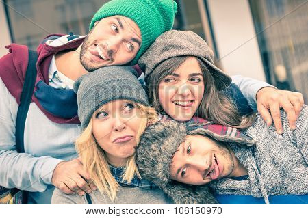 Group Of Best Friends Taking Selfie Outdoors With Funny Face Expression And  Fashion Clothes poster