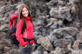 Young Smiling Woman Hiking