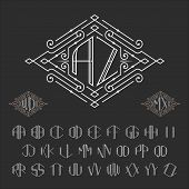 Постер, плакат: Two letters monogram template