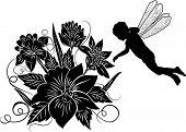 Elemento de Design, flor com silhueta Elf, ilustração