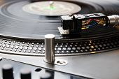 Turntable Playing Vinyl Record With Music